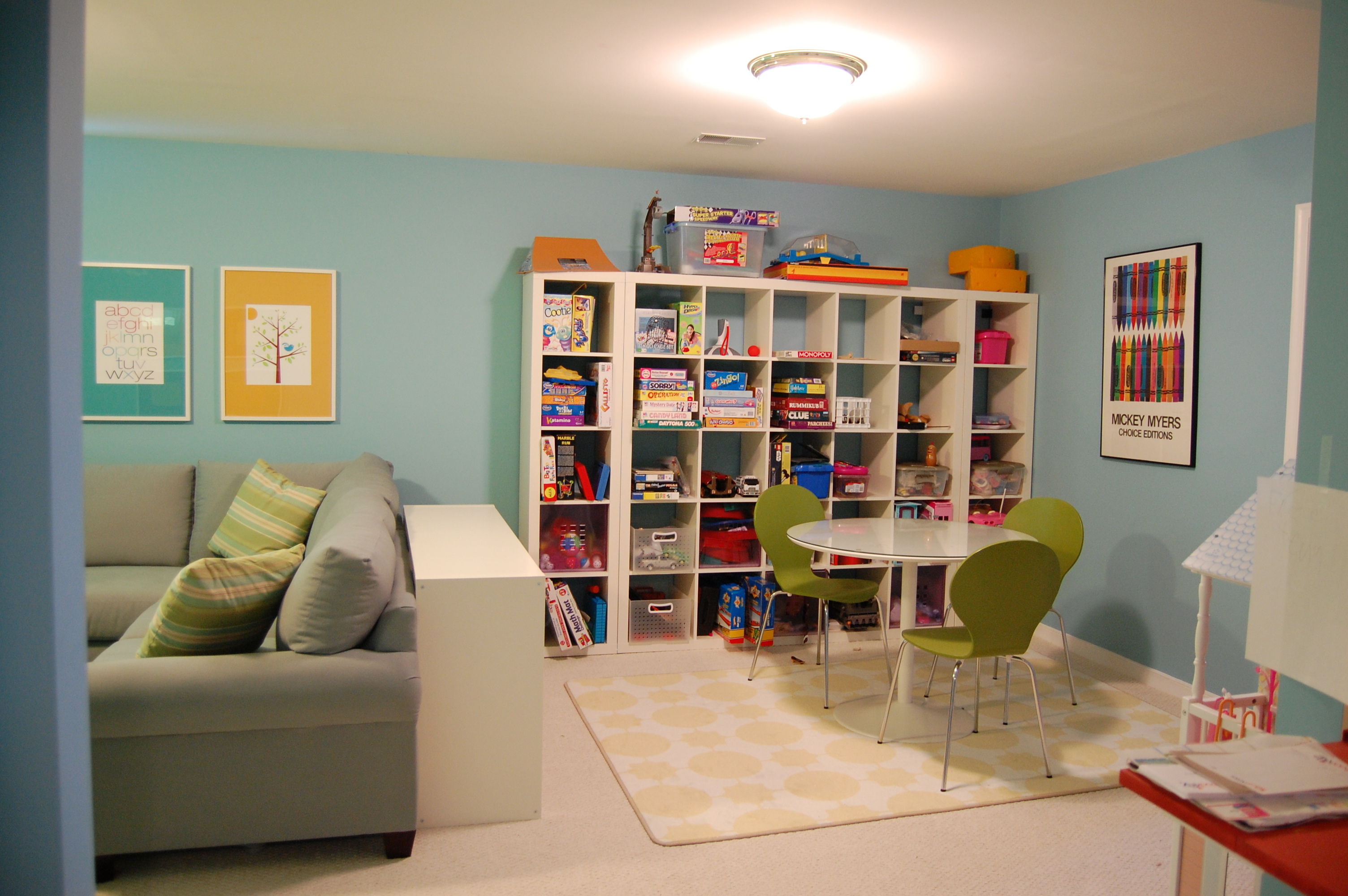 Ideas for a playroom a decorator 39 s journey for Fun living room furniture
